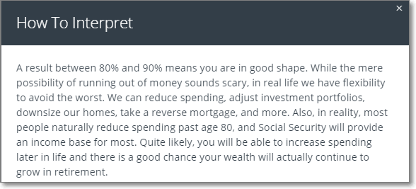 Personal Capital Good Shape Forecast - 80 to 90%