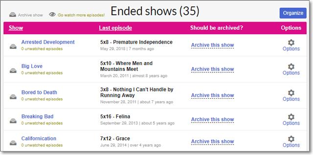 EpisodeCalendar - Ended Shows