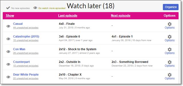 EpisodeCalendar - Watch Later
