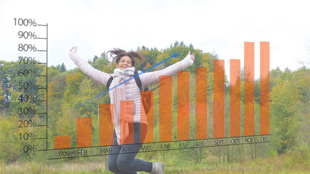 Woman Jumping For Joy Over Upward Graph