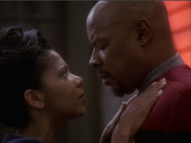 Sisko and Yates Embrace