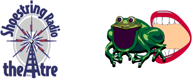 Logos For Shoestring Radio Theater and Crunchy Frog Comedy