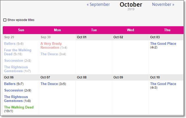 EpisodeCalendar - Monthly Calendar