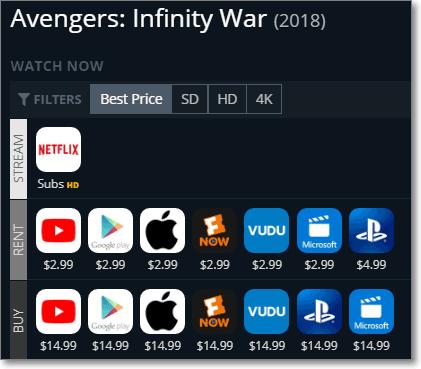 JustWatch - Infinity War