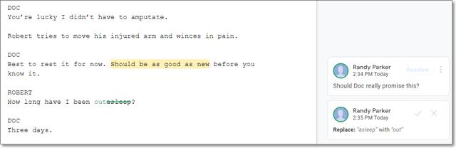 Screenplay in Google Docs.
