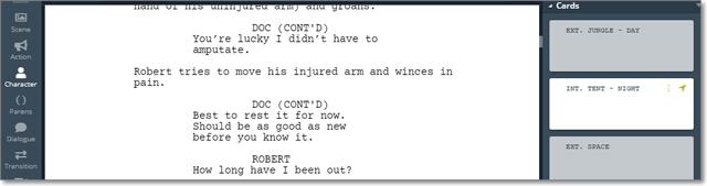 Screenplay in WriterDuet