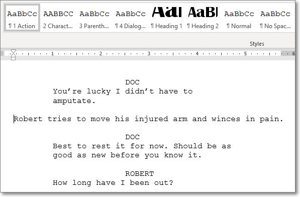 Screenplay in Microsoft Word