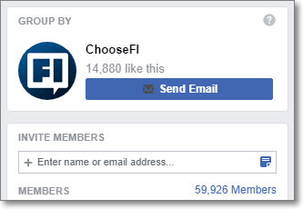 ChooseFI member count = 59,926.