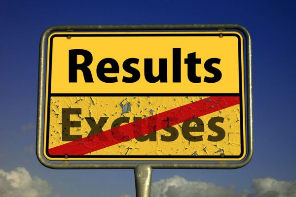 Sign - Results Not Excuses