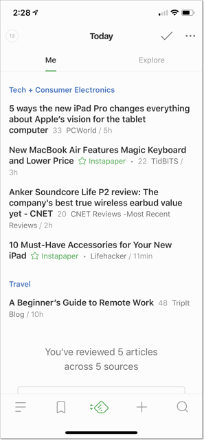 Feedly Today view on an iPhone X.
