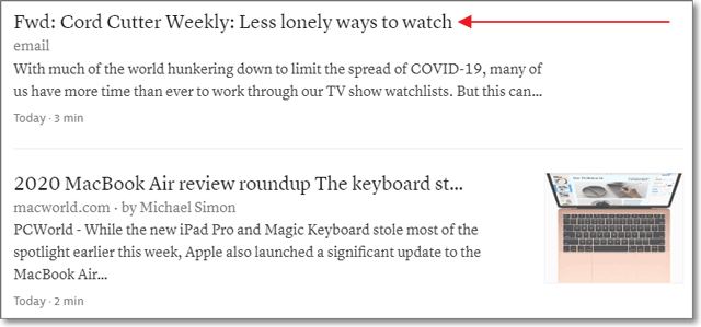 Instapaper reading queue with a newsletter item.