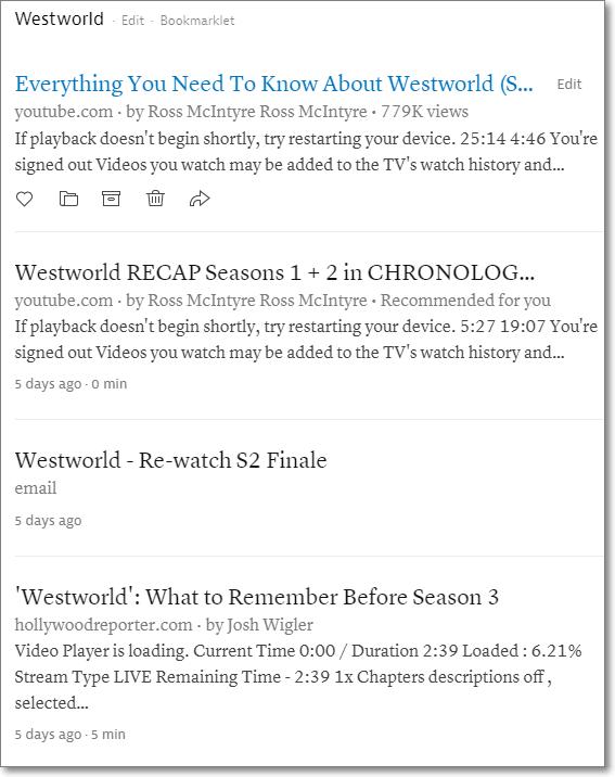 Westworld folder in Instapaper.