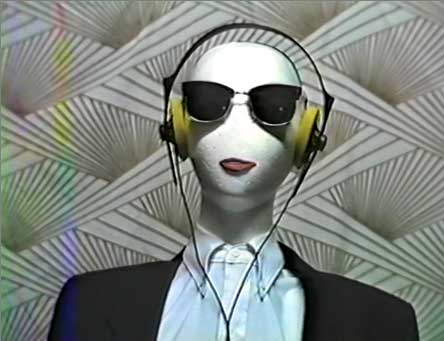 Mannequin wearing headphones
