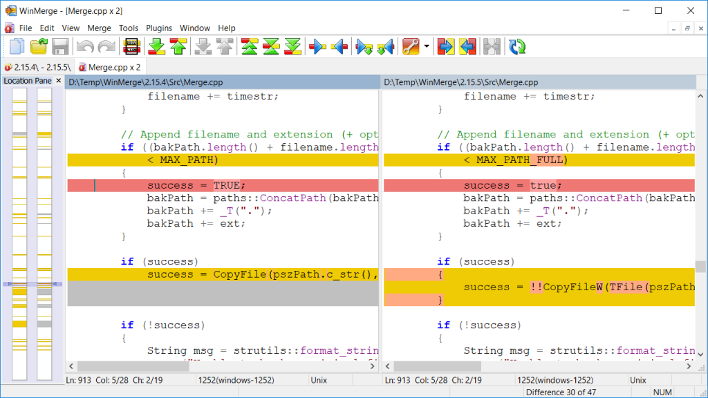 WinMerge showing a code diff