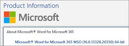 Microsoft Word Version Number