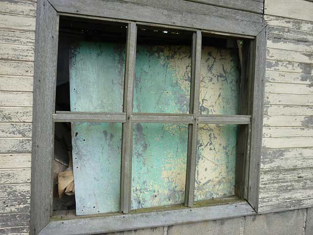 Window in abandoned house.