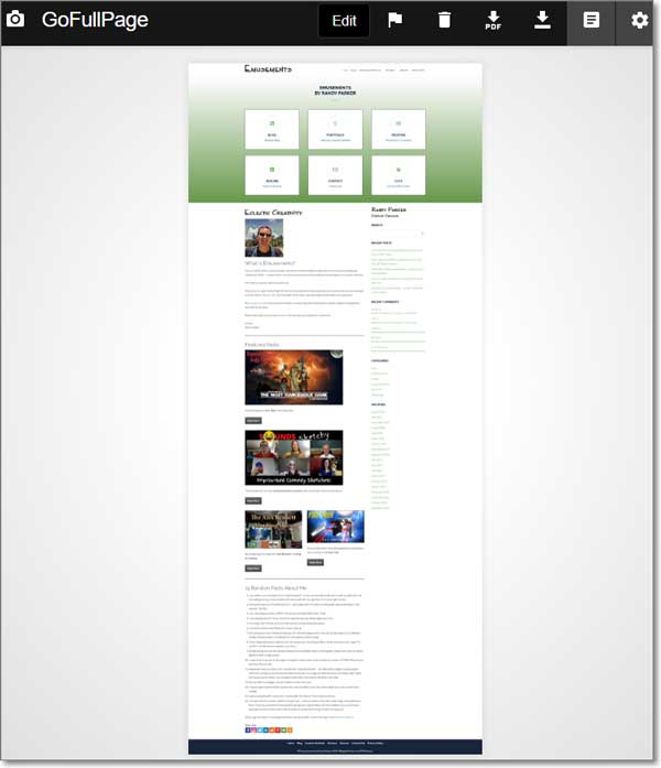 Example Screenshot of a Full Page