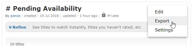 IMDb Export Option